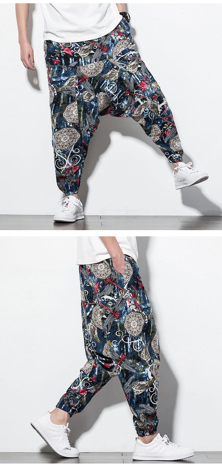 Mens Baggy Cotton Linen Print Harem Pants Red M