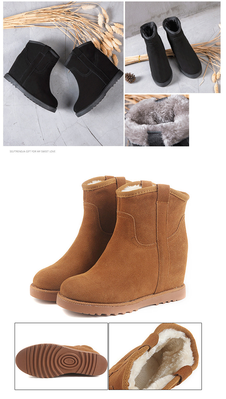 Snow Short Real Leather Inside Barrel Boots Matte Warmth Increased Cow dxoeBCr